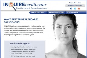 Inquire Healthcare home screen