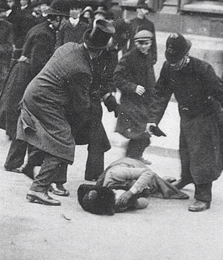 British suffragette being beaten on Black Friday 1910
