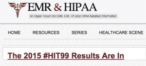 "Click to visit ""#HIT99"" results post on EMR & HIPAA blog"