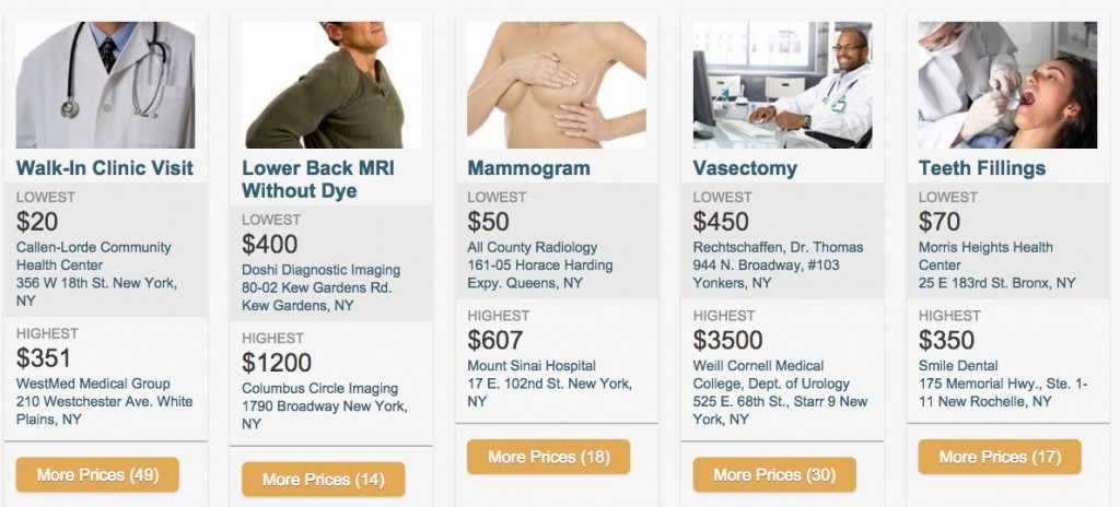 Screen capture of Clear Health Costs home page