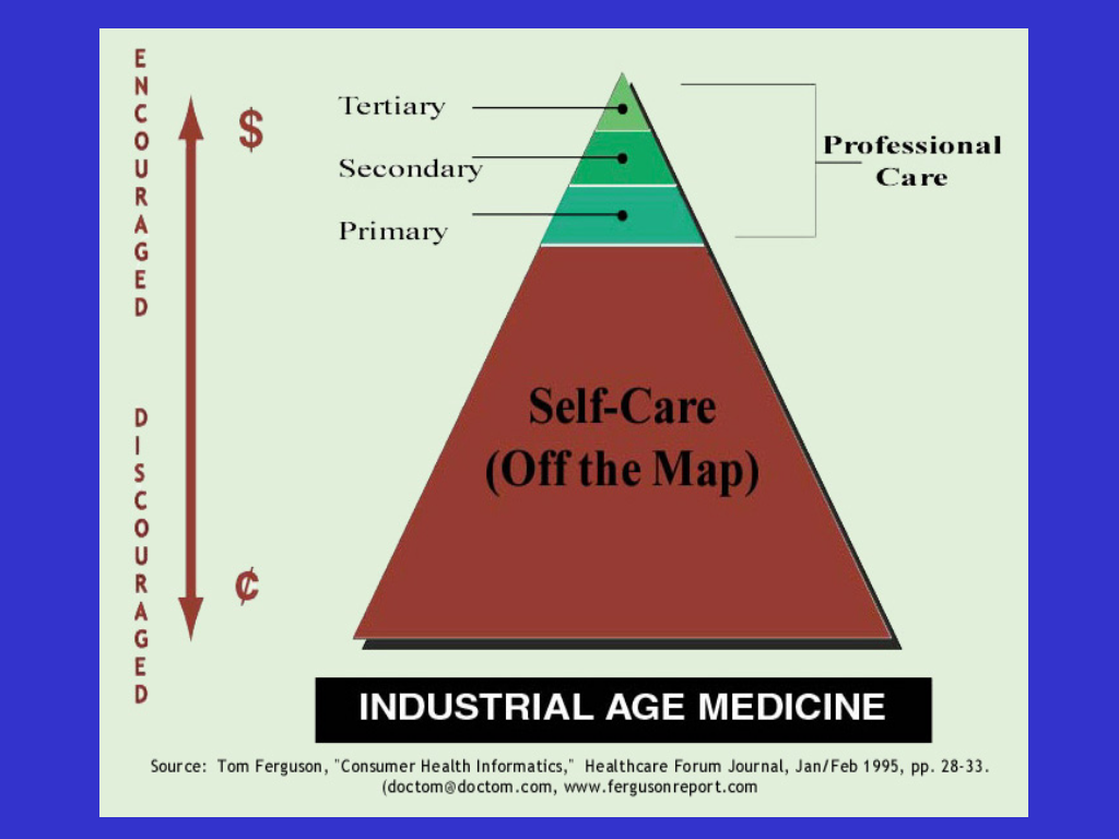 "Doc Tom's 'Industrial Age Medicine"" slide (1995)"