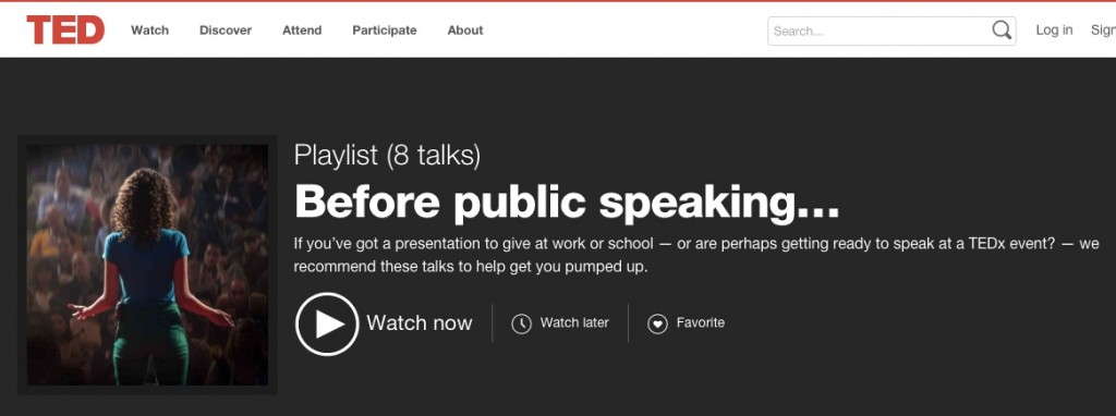 Screen grab of TED public speaking playlist