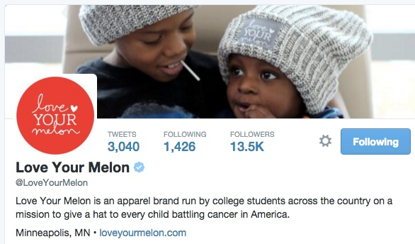 Love Your Melon twitter profile
