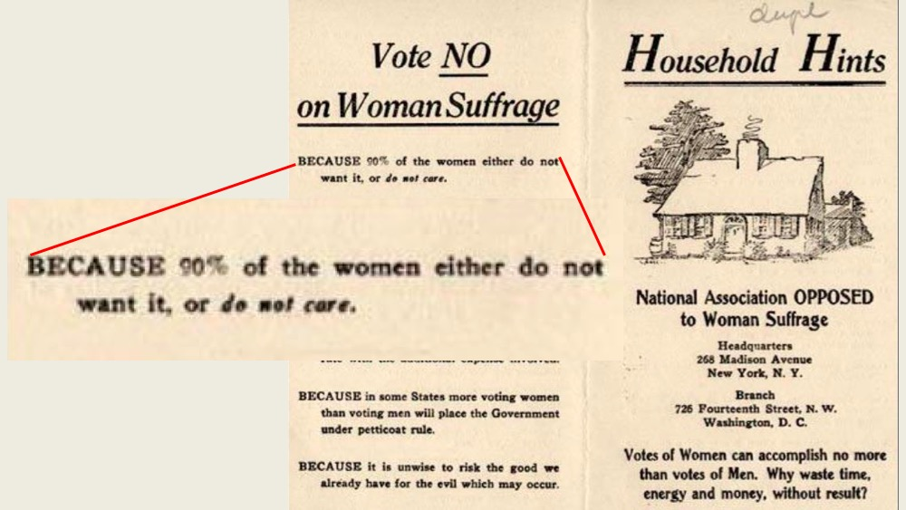 1912 flyer against women's suffrage