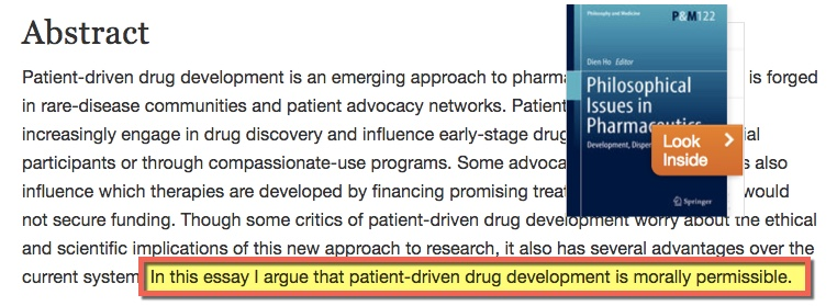 "Screen capture of abstract ""patient-driven drug development is morally permissible"""